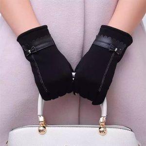 Accessories - Women Winter Luxury Black Gloves